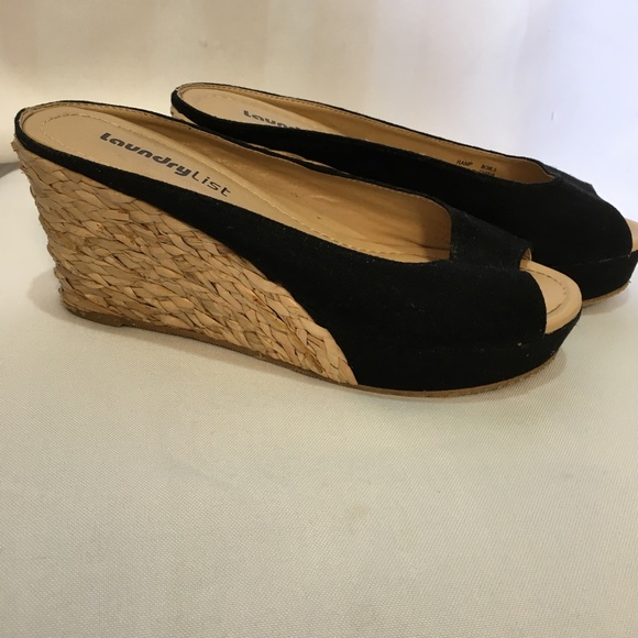 7a8c93a42 Laundry List Shoes | Canvas Espadrilles Black Open Back Size 8 ...